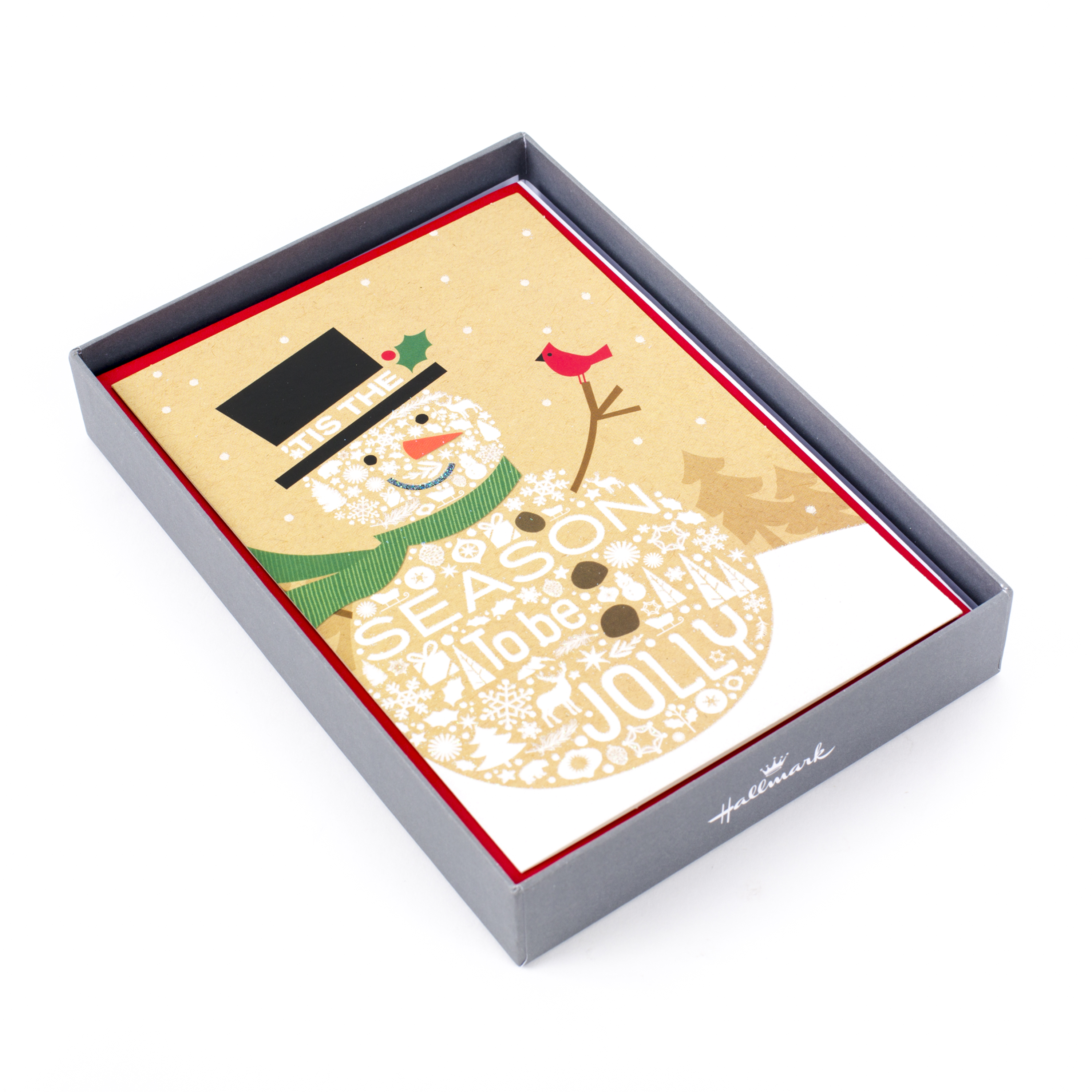 Hallmark Holiday Boxed Cards, Jolly Snowman (16 Cards and 17 Envelopes)