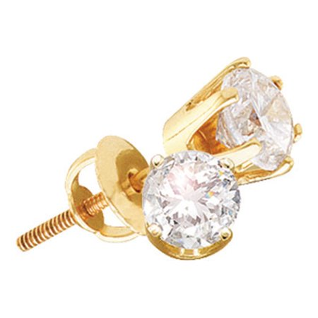 14kt Yellow Gold Womens Round Natural Diamond Solitaire Stud Fashion Earrings (.50 cttw.) (Cttw Round Diamond Studs)