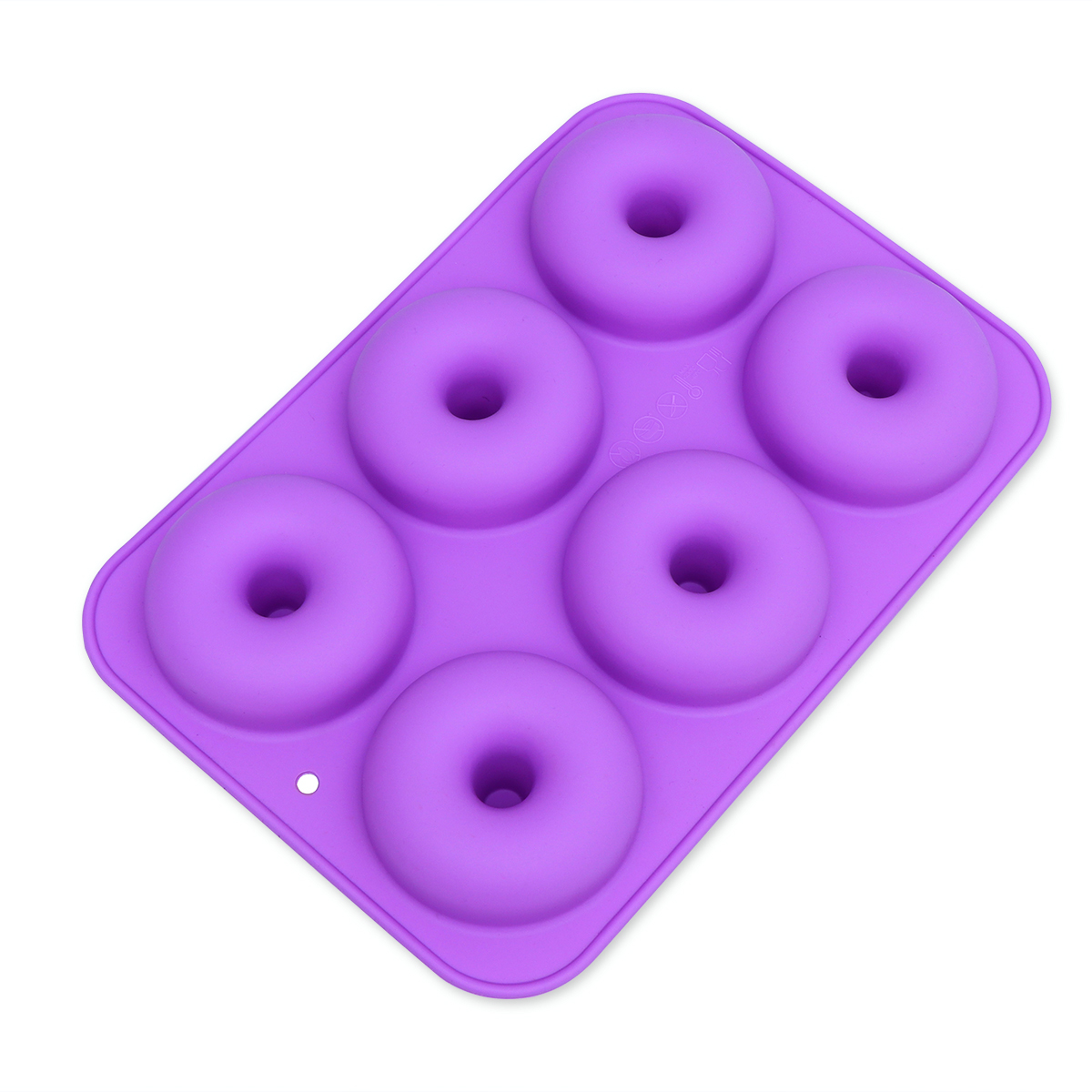 Click here to buy 6-Cavity Silicone Donut Baking Pan Non-Stick Donut Mold Safe Baking Tray Maker for Cake Biscuit Bagels Muffins (Light Purple).