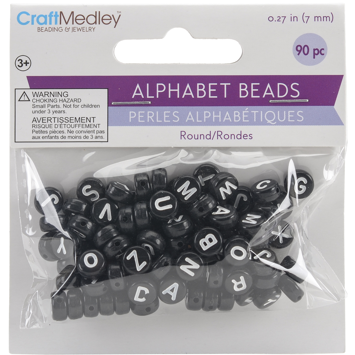 Alphabet Beads 7mm 90/Pkg-Black W/White Letters