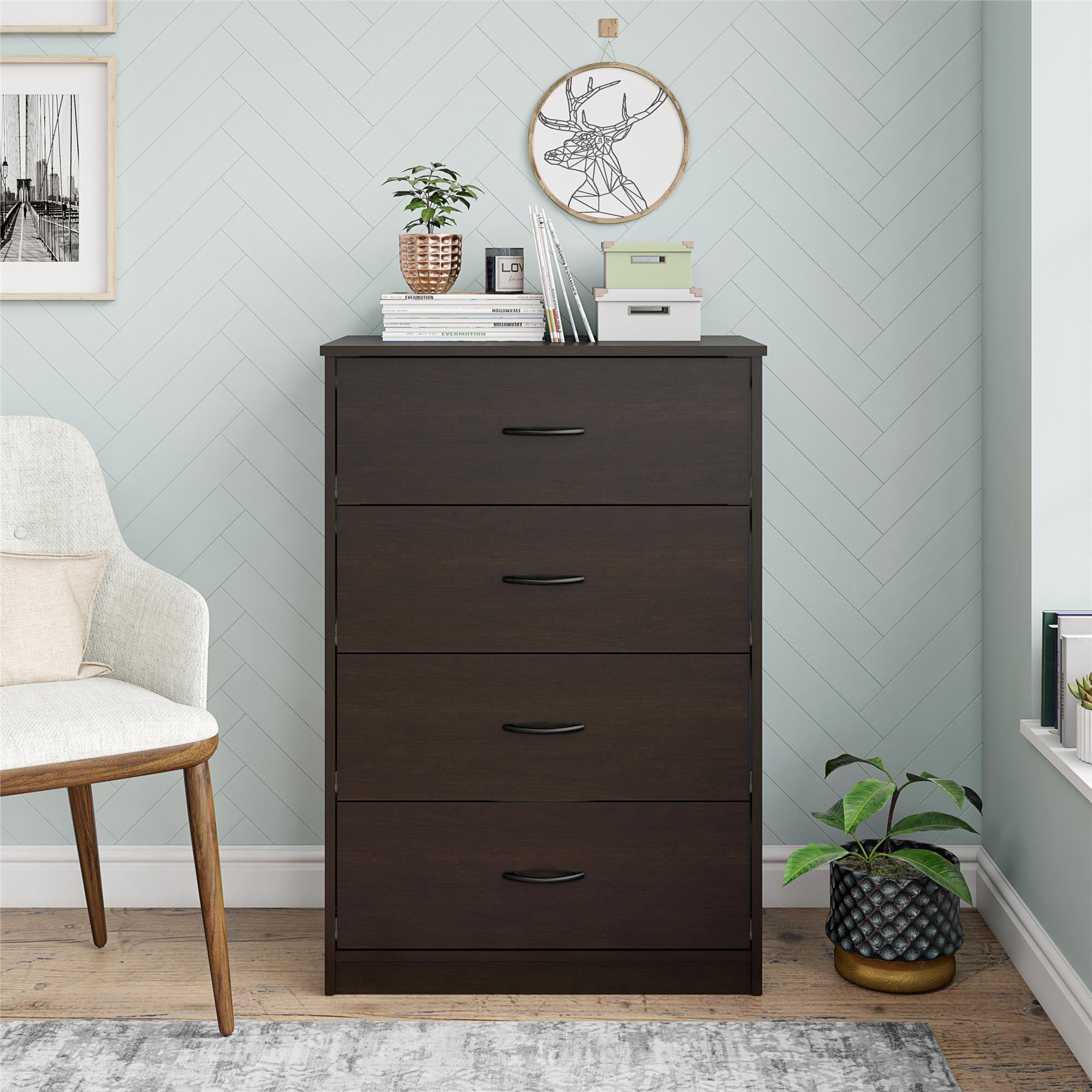 4-Drawer Bedroom Indoor Storage Cabinet Dresser Furniture in Espresso Finish