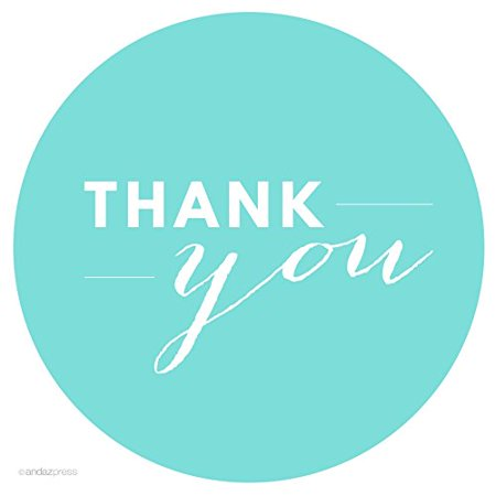 Diamond Blue Chic Thank You Circle Favor Labels, 40-Pack