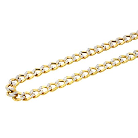 10K YELLOW GOLD Hollow Diamond Cut Pave Cuban Curb Chain Necklace Men | 11 mm 24