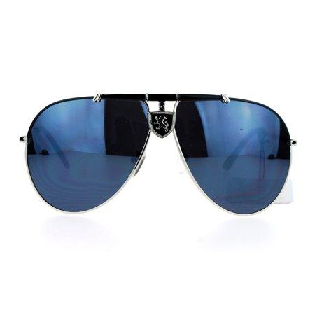 SA106 Lion Emblem Luxury Designer Mens Racer Metal Aviator Sunglasses Silver (Aviator Designer Sunglasses)