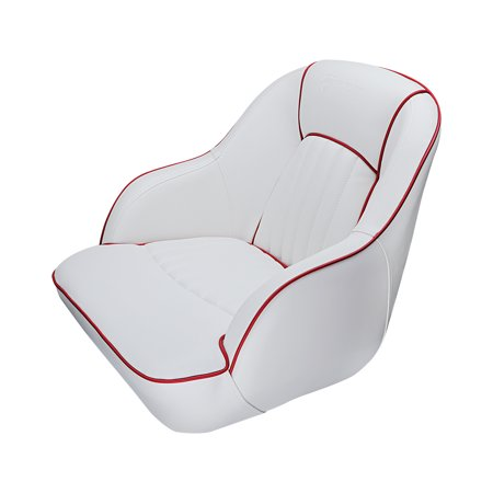 Seamander S1040 series Premier Pontoon Furniture Bucket Seat, Captain Seat,  Colors White/Red