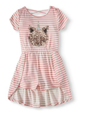 Btween Sequin Critter Striped Walk-thru Romper (Little Girls)