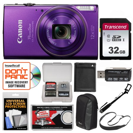 Canon PowerShot Elph 360 HS Wi-Fi Digital Camera (Purple) with 32GB Card + Case + Battery + Selfie Stick + Sling Strap +