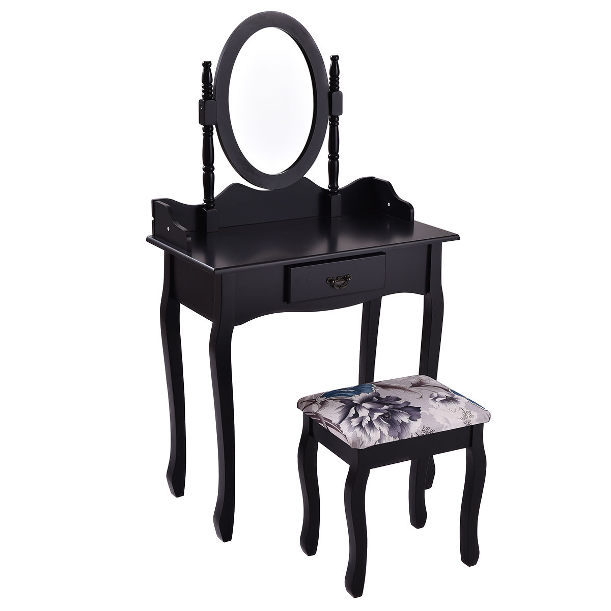 Costway Vanity Wood Makeup Dressing Table Stool Set Jewelry Desk W  Drawer &Mirror Black by Costway