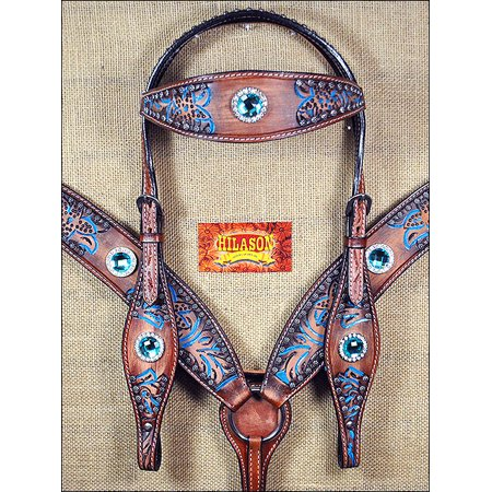 Hilason Leather Horse Headstall Breast Collar Concho Brown Turquoise