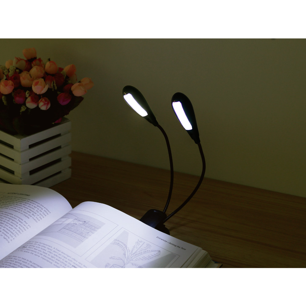 Lighting EVER Rechargeable LED Book Light,Desk Light Lamp Flexible LED Clip On Book Reading Light,Dual Head by Home EVER Inc.