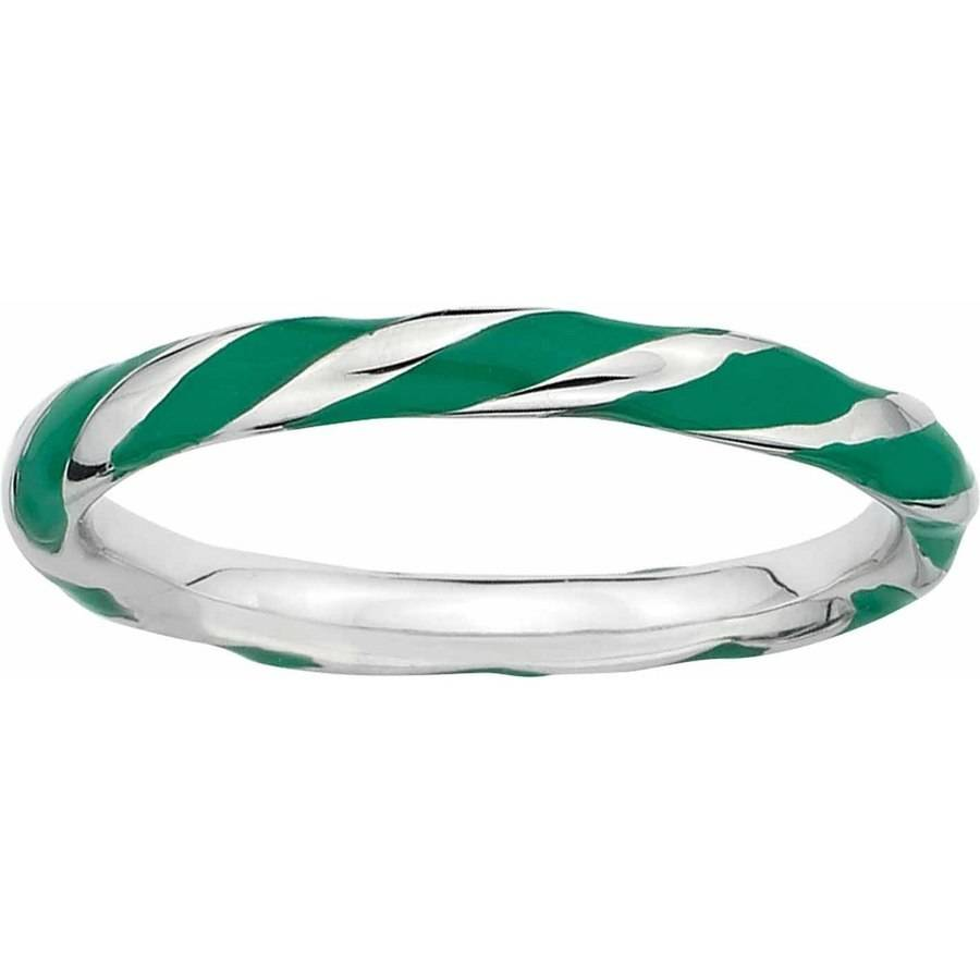 Sterling Silver Stackable Expressions Twisted Green Enameled Ring