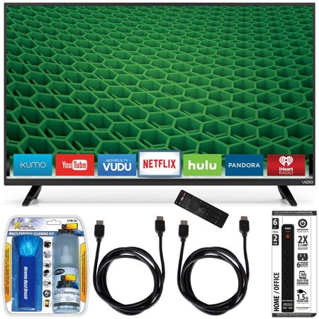 Vizio D48-D0 – D-Series 48-Inch Full-Array LED Smart TV Accessory Bundle includes TV, Screen Cleaning Kit, Power Strip with Dual USB Ports and 2 HDMI Cables