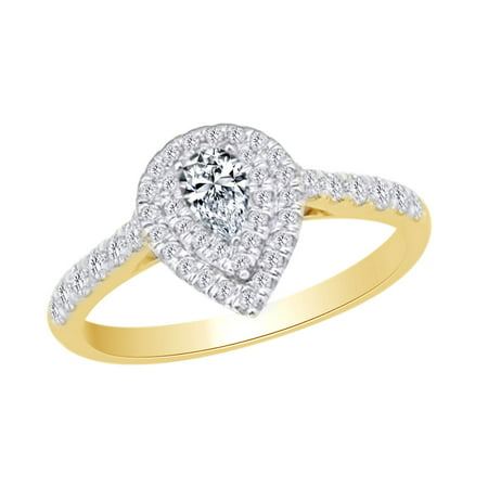 Pear Shape Engagement Wedding Ring In 14k Yellow Gold With 0.62 CT White Natural Diamond With Ring Size (14k White Gold Ring With 5 Diamonds)