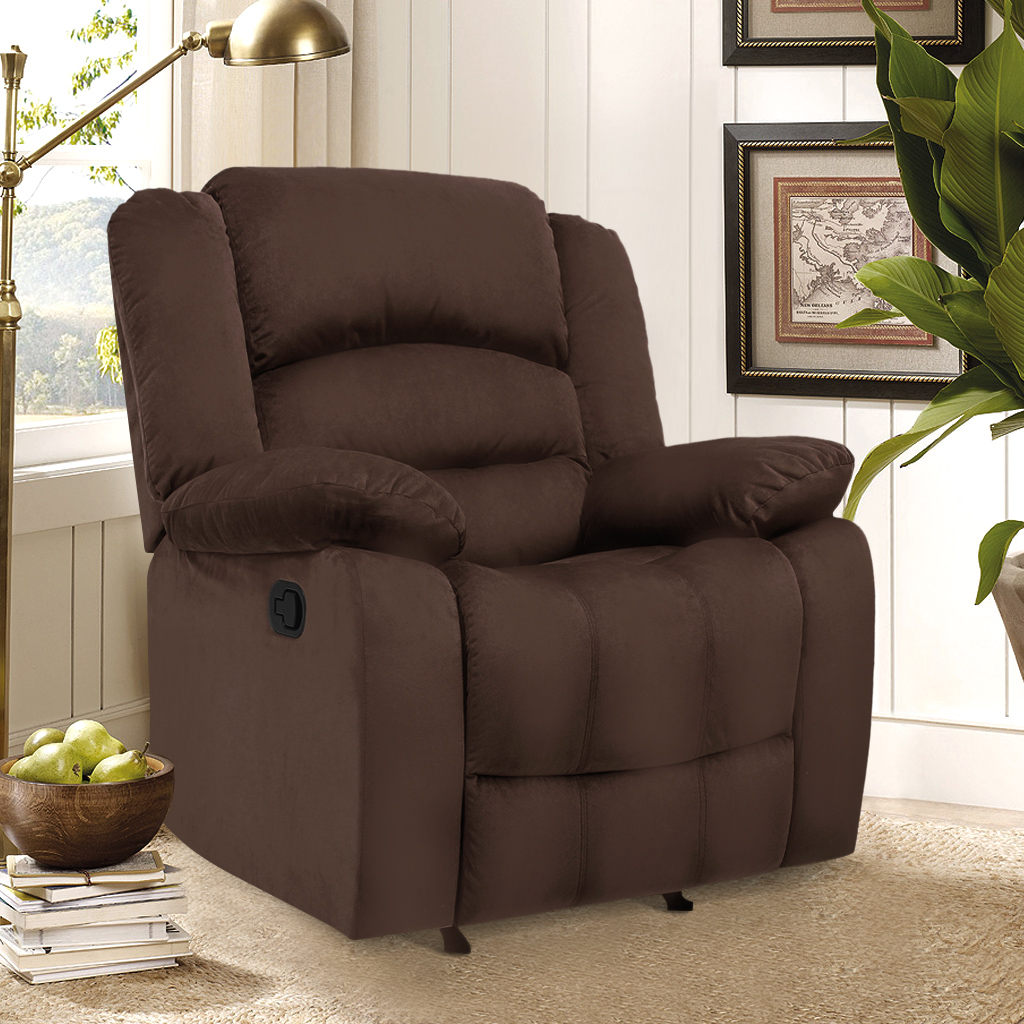 LANGRIA Manual Recliner Sofa Chair with Pillow Top Backre...