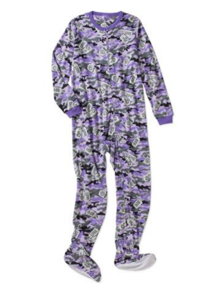 Girls Purple Fleece Peace & Love Blanket Sleeper Union Suit Footed Pajamas