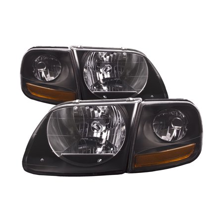 1997-2003 Ford F-150 New Black Housing 4-Piece Headlights Set w/Smoked Lens Driver Left Passenger Right Headlamp Pair Assembly FO2502182 & (Passenger Headlight Headlamp)