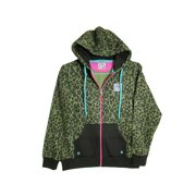 Womens WildLife Zip Hoodie Fashion Hoodie, Black Leopard, L