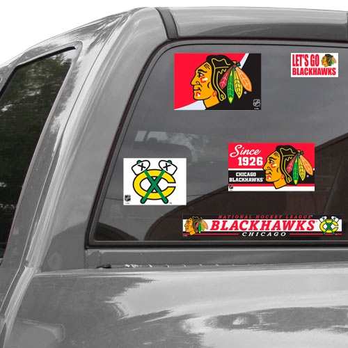 Chicago Blackhawks WinCraft Set of Five Reusable Cling Ultra Car Decals - No Size