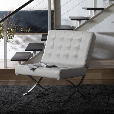 Studio Designs Home Atrium Lounge, Accent Chair in White Bonded Leather and Chrome Metal ()