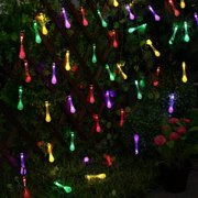 Solite Outdoor String Lights,20ft 30 LED Warm White Water Drop Solar String Fairy Waterproof Lights Christmas Lights Solar Powered String lights for Patio, Lawn, Christmas,Party(Multi Color)