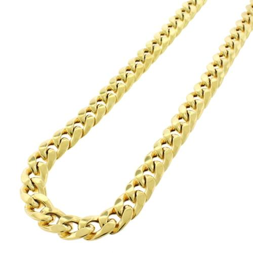 .925 Sterling Silver Hollow Miami Cuban Curb Link Gold Plated Necklace Chain 10mm 28""