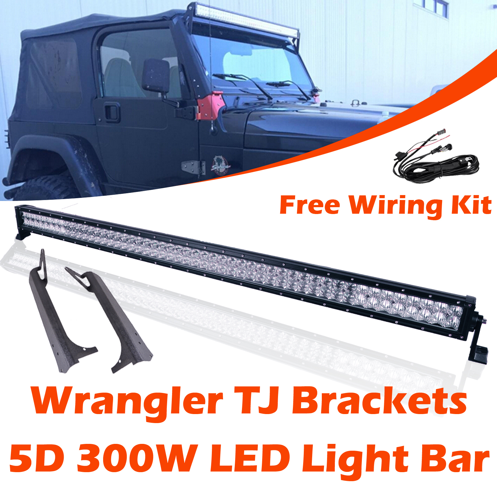 Omotor Jeep Wrangler Tj 5d 300w Cree Led Work Light Bar With Fog Wiring Windshield Mounting Brackets Free Kit Waterproof Dustproof 2 Years Warranty Walmart