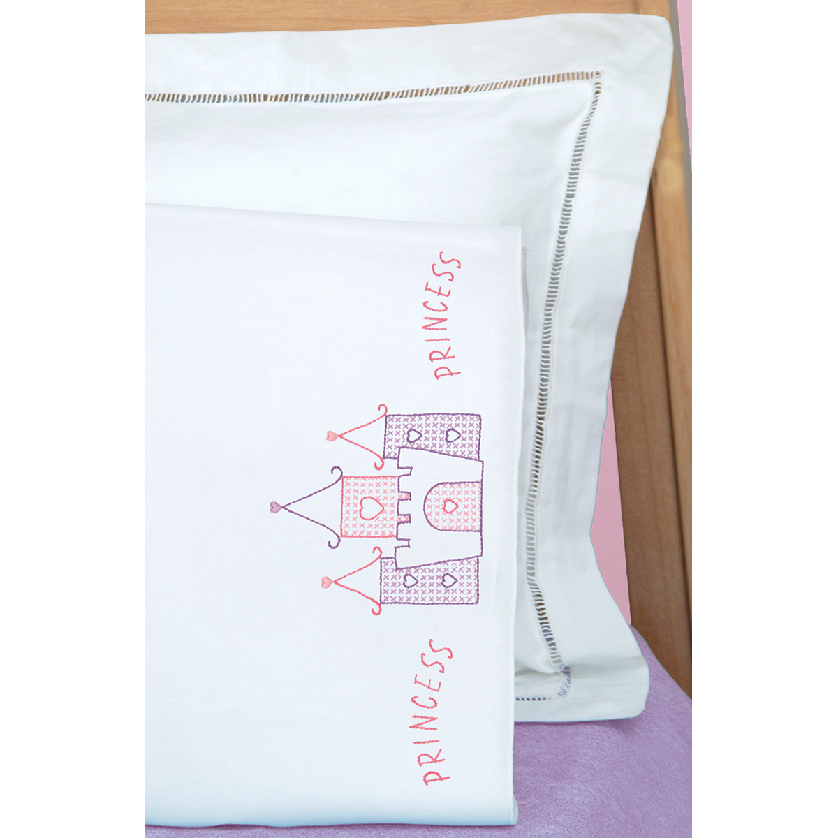 Jack Dempsey Princess Children's Stamped Pillowcase With White Perle Edge