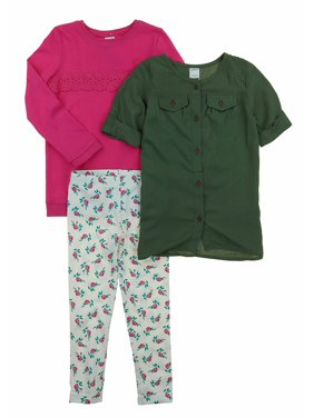 Carters Toddler Girls 3 Piece Matching Outfit Kids Set-2 Tops, 1 Pant Bottom (2T, (13) White/Pink/Floral)