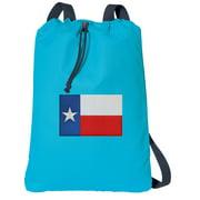 Canvas Texas Flag Drawstring Backpack Aqua Natural Cotton Texas Cinch Bag with Wide Straps