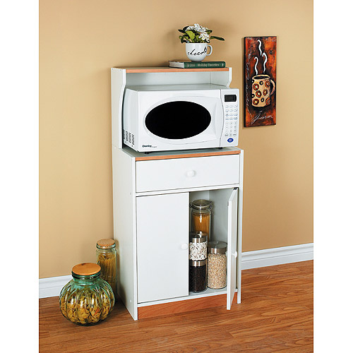 Microwave Cart with Drawer, White