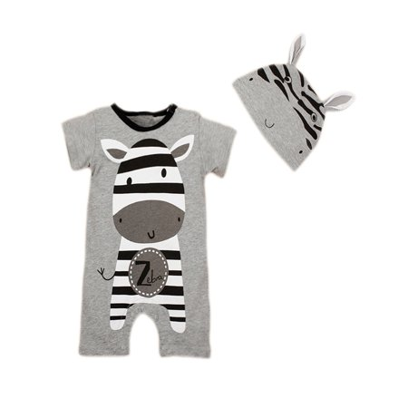 StylesILove Cute Animal Baby Costume Jumpsuit and Hat (6-12 Months, Grey Zebra)