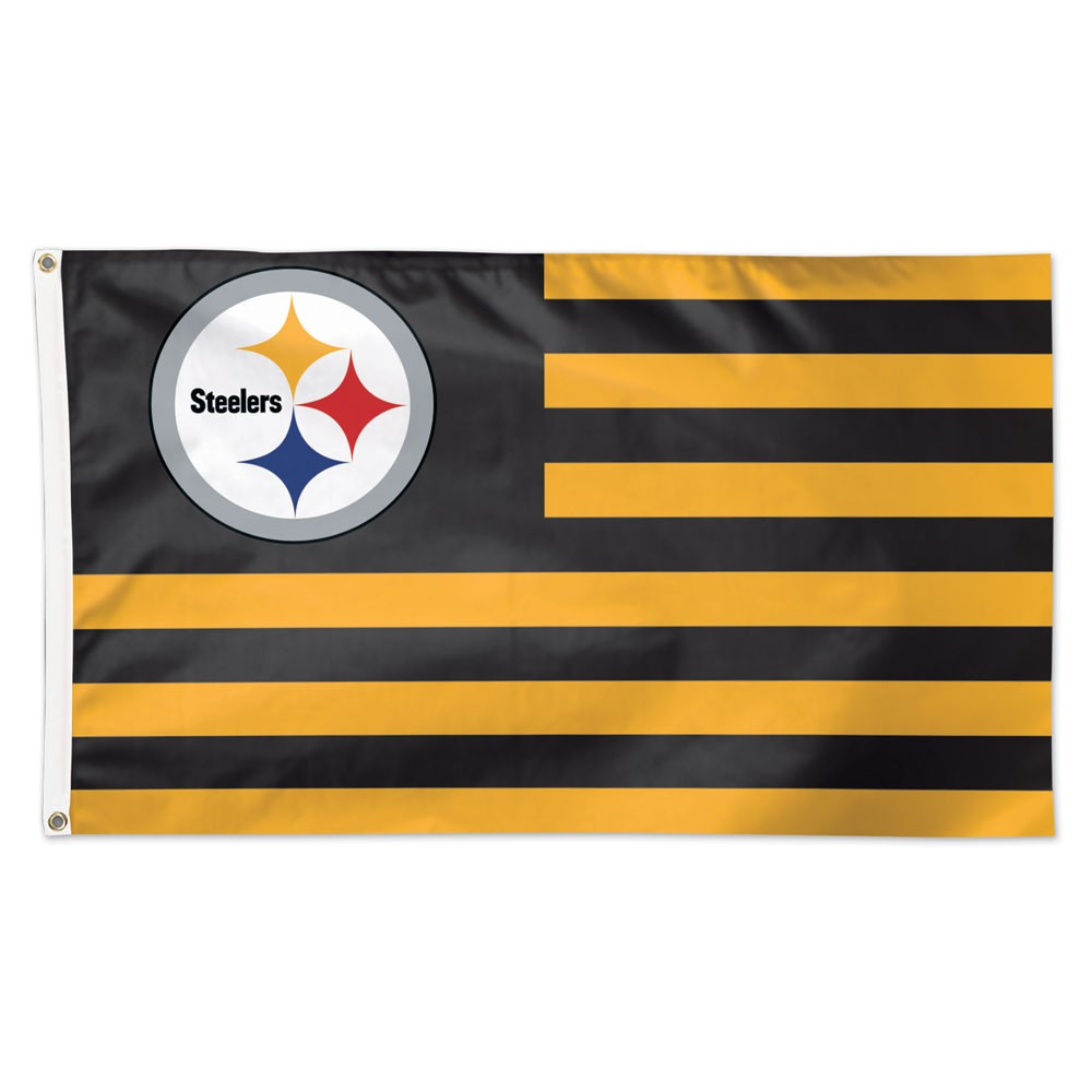 Pittsburgh Steelers WinCraft 3' x 5' Americana Stars & Stripes Deluxe Flag - No Size