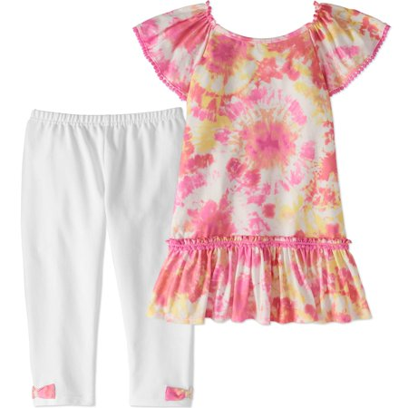 - Tie-Dye Pom Pom Tunic and Capri Legging 2-Piece Set (Little Girls & Big Girls)