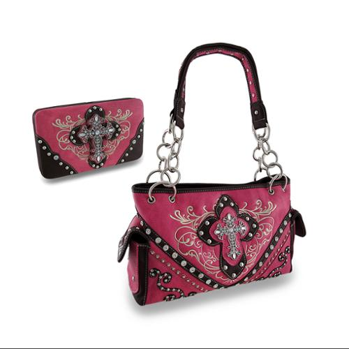 Zeckos - Hot Pink Embroidered Western Concealed Carry Purse and Wallet w/Rhinestone Cross - Hot Pink