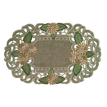 Doily Boutique Place Mat with Gold Daisy on Sage Green Burlap Linen Fabric, Size 11 x 17