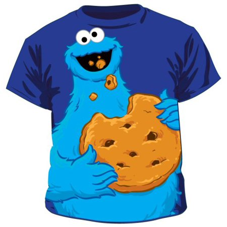 Sesame Street Jumbo Cookie Monster Eating Cookie Toddlers Blue T-Shirt (Monsters Inc Clothing For Toddlers)