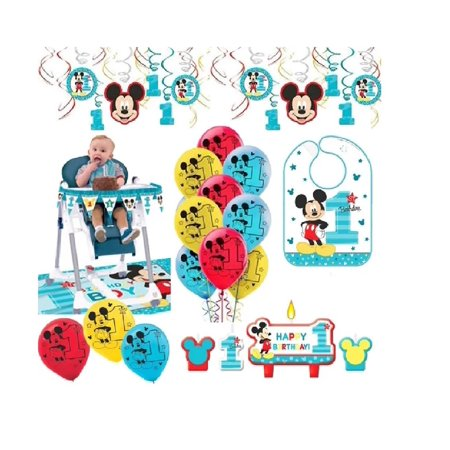 Mickey First Birthday Decorations (Mickey Mouse First Birthday Fun To Be One 1st Birthday Party Supplies Decoration)