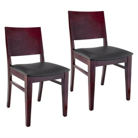 Dark Mahogany Island - Bazil Side Chair in Dark Mahogany with Upholstered Seat (Set of 2)