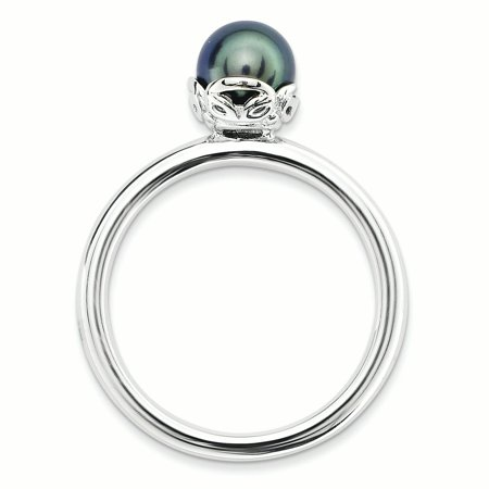 Sterling Silver Stack Exp. Polished Black FW Cultured Pearl Ring Size 9 - image 2 de 3