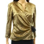 Cachet NEW Gold Metallic Textured  Women's Size 8 Surplice Gathered Blouse