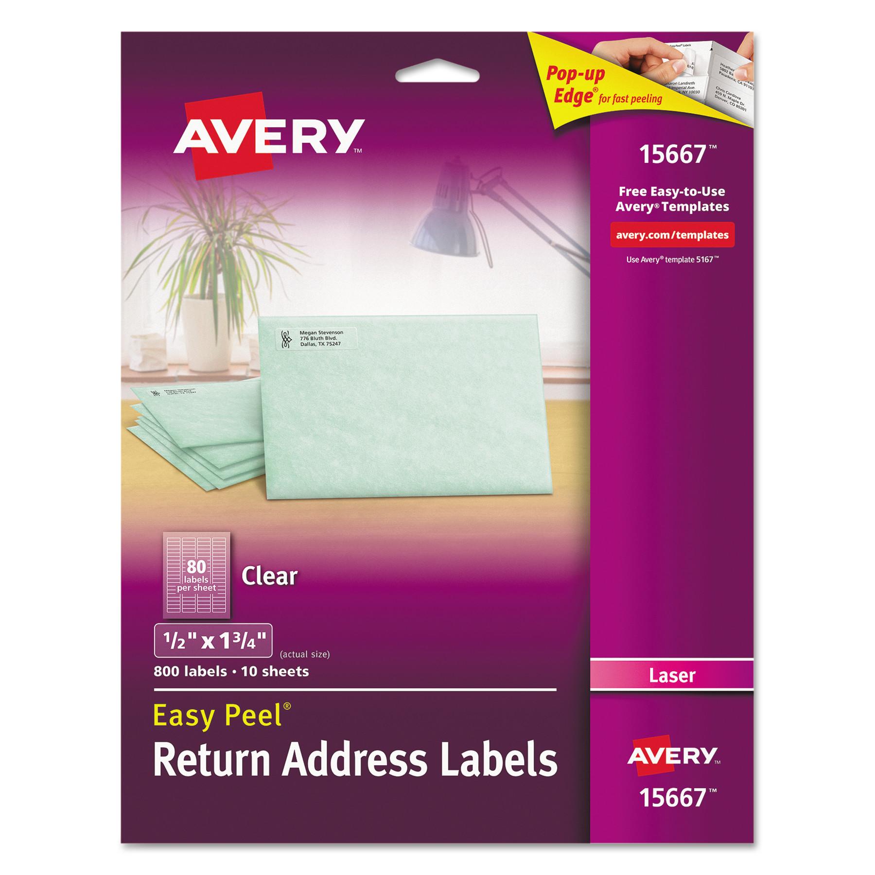 Avery Matte Clear Easy Peel Return Address Labels, Laser, 1/2 x 1 3/4, 800/Pack -AVE15667