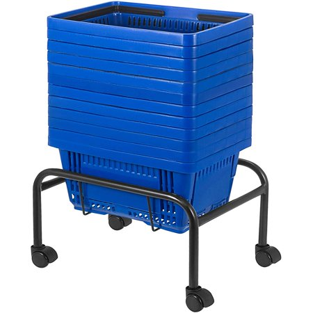 Large Blue Shopping Basket with Handle Portable and Durable Stand with Rollers-Set of 12 (18 X 12 X 10 inch) Product Description Here we offer you 12 set of red shopping baskets. These hand baskets have bright red color for easy visibility. Each basket is lightweight and comes with 2 plastc folding handles. The included stand helps to display your basket in a neat and organized way. Our shopping basket is a convenient way for your customers to carry their merchandise and for merchant to increase their sales. Specification Color: Red Material: Plastic Total Dimension(LxWxH): 47x32x26cm / 18.5x12.5x10.4in Load Of Each: 15kg/33LBS Package Content12 x Red Shopping Basket 1 x Basket Stand Durable Material Folding Steel Handles Hollow Out Design Basket Stand Included Features Body of the shopping basket has adopted hollow-carved design which can help to let water inside the basket out and keep the goods dry and ventilate. Great for both carrying and storing goods. Perfect for shopping malls, supermarkets, convenience stores, KTV, bookstores, cosmetics stores, and boutiques.