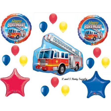 firetruck engine happy birthday party balloons decorations supplies fire fighter by - Fire Party Supplies