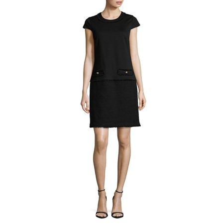 Frayed Tweed Shift Dress