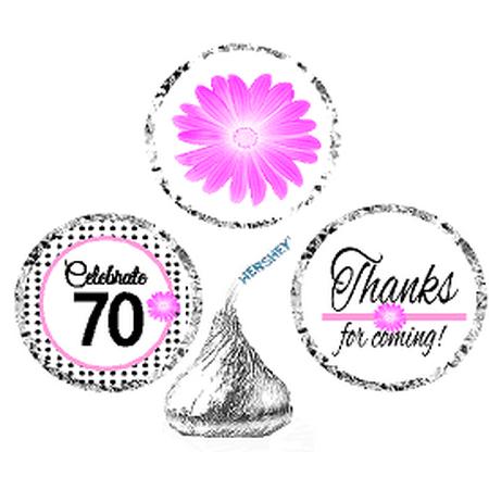 CakeSupplyShop Item#070BPH 70th Birthday / AnniversaryPink Black Polka Dot Party Favor Hershey Kisses Candy Stickers / Labels -216ct - Polka Dot Party
