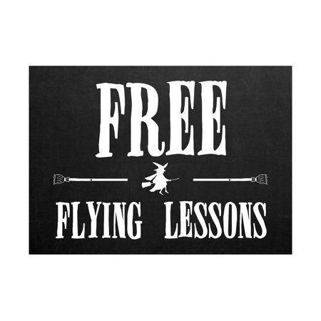 Free Flying Lessons Print Flying Witch Broomsticks Picture Chalkboard Design Fun Humor Halloween Seasonal Decorat, 12x18 for $<!---->
