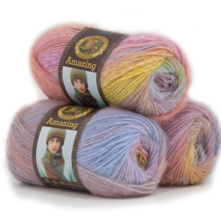 Lion Brand Yarn Amazing 3 Pack Novelty Fashion Wool Yarn