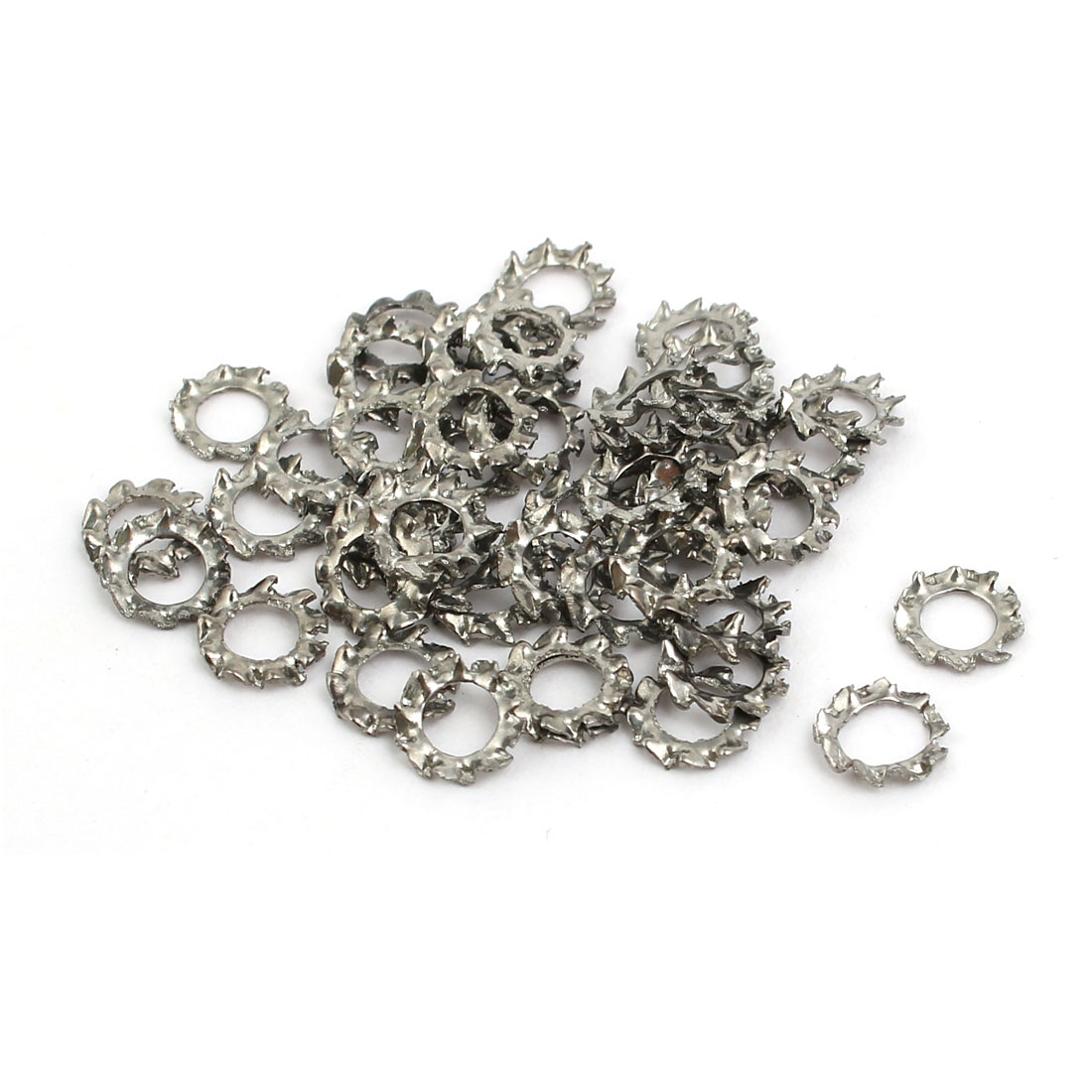 3mm Inner Dia 304 Stainless Steel External Tooth Lock Washer Silver Tone 50pcs