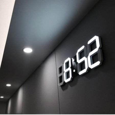 Modern Digital 3D White LED Wall Clock Alarm Clock in White (Led Wall Clock)