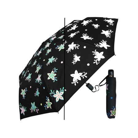 Umbrella Style Dryer (Rainstoppers Women Black Multi Color Changing Flower Star 44